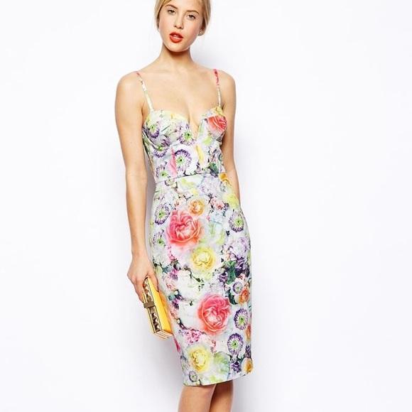 3273334ca7 ASOS Dresses   Skirts - Asos Floral bandeau Deep V Strapless Midi Dress